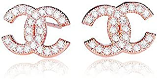findout Women Double c Earrings 925 Sterling Silver Cubic Zirconia Letter C Earrings .for Women Girls (617)