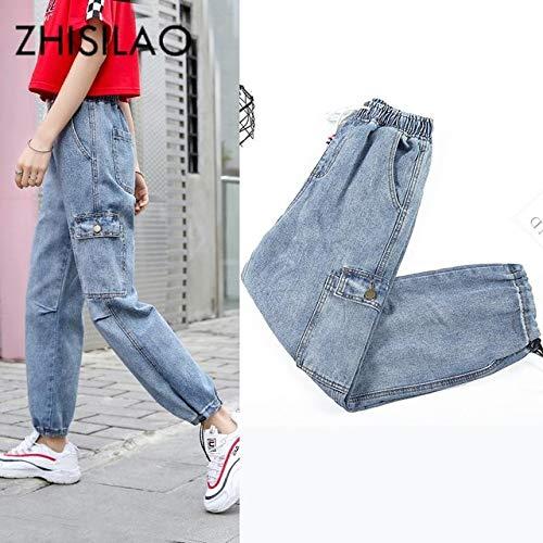 KXDNZK ZKKXDN Vrouwen Pocket Vriendjes Jeans Losse Denim Broek Moeder Jeans Vintage Elastische Taille Jeans Plus Size Chic