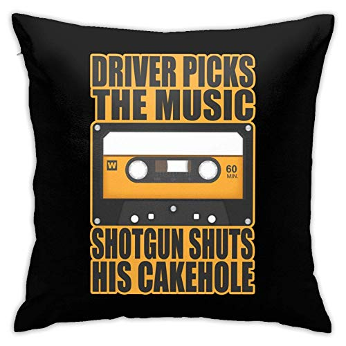 WH-CLA Throw Pillow Covers Driver Picks The Music 45X45Cm Fundas De Respaldo para Sofá Fundas De Cojín Cremallera Suave Sofá Cojín De Coche Interiores Silla Regalos De Cumpleaños Personal