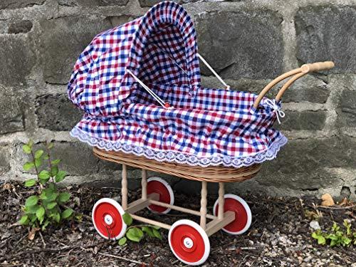 Bukora® Korbpuppenwagen Blau Rot Weiß mit Herzen und Holzgriff...extra stabil...