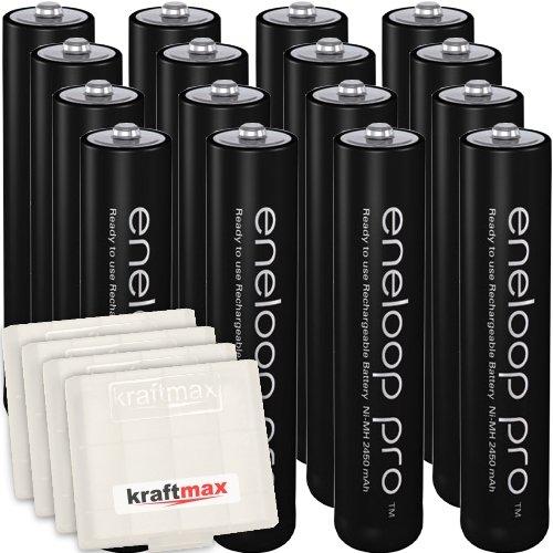 16er Pack Panasonic Eneloop PRO XX AAA/Micro Akkus - Neueste Generation - 950 mAh Hochleistungs Akku Batterien in Kraftmax Akkubox V5