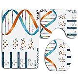 Bases de ADN educativo Química Bioquímica Biotecnología Ciencia Símbolo en espiral Genético 3 piezas Juego de alfombras de baño Alfombra de baño antideslizante + Alfombrilla de baño en forma de U + Fu