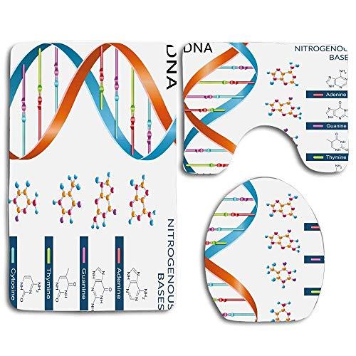 Bases de ADN educativo Química Bioquímica Biotecnología Ciencia Símbolo en espiral Alfombras de baño genéticas Antideslizante Absorbente Inodoro Funda de asiento de baño Alfombra de baño Tapa 3pcs / S