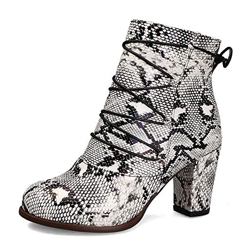 SHZSMHD Winter Plus ColorSize Snake Veins Vrouwen Schoenen Enkellaarzen Hoge hak Rits Vrouwen Laarzen Schoenen