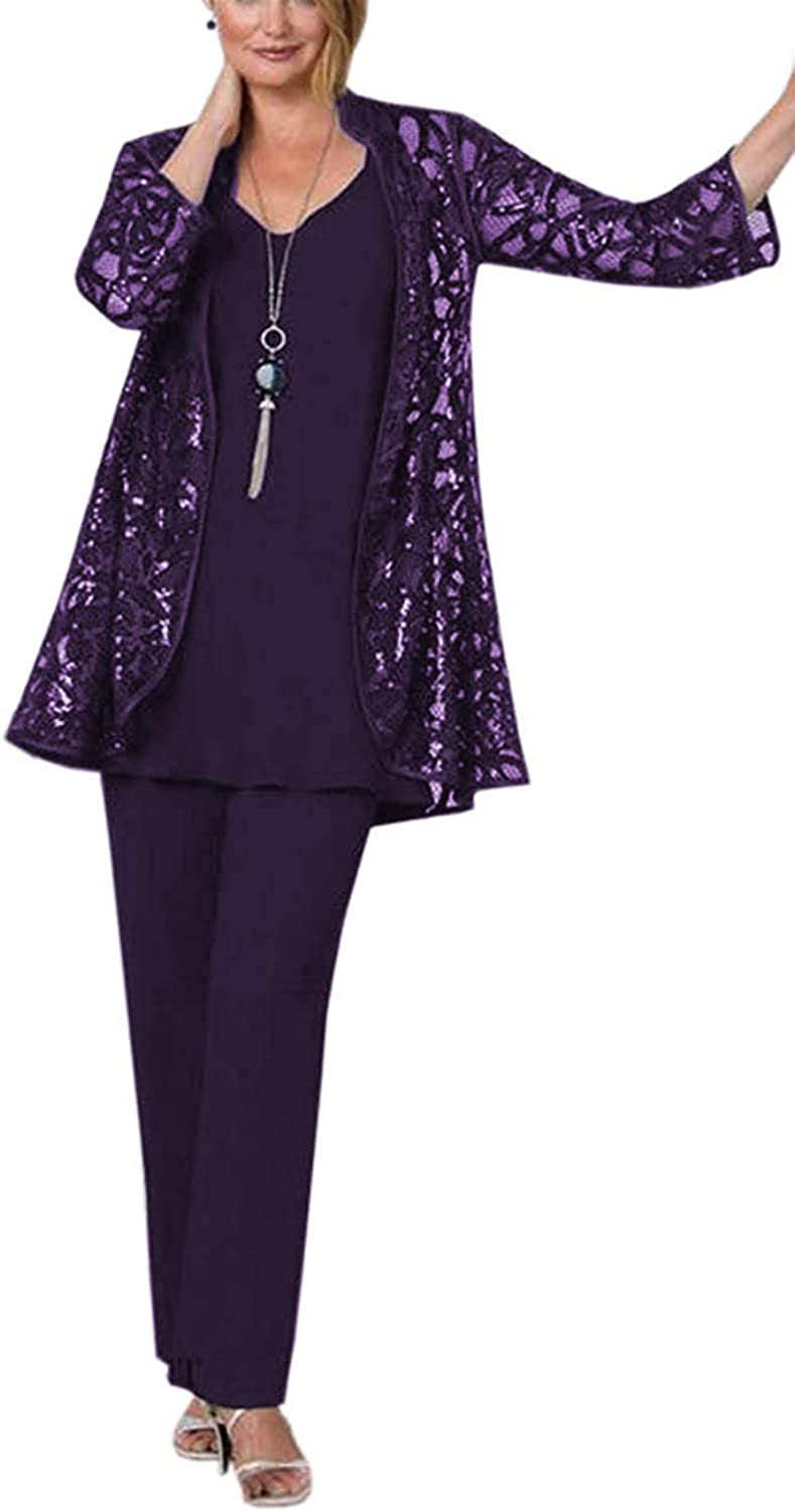 DIKN Women's Elegant Sequin Tulle Mother of Bride Dress Pant Suit 3 Pieces Long Sleeves Outfit