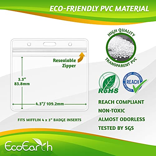 EcoEarth Horizontal Vaccine Card Protector (Sealable 4x3 Inch, 250 Pack), Waterproof ID Holder, ID Card Holder Bulk, Name Badge Holder, Name Tag Holder, Plastic Badge Holder, Clear Card ID Badge Photo #6