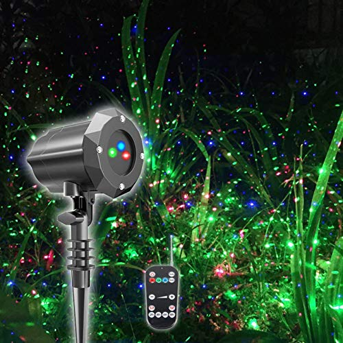 HONGLONG Luce per proiettore Natalizio,Luci per proiettore Impermeabili Faretto a LED per Paesaggio Spettacolo di Stelle Rosse e Verdi con Telecomando Wireless RF Decorazioni Natalizie