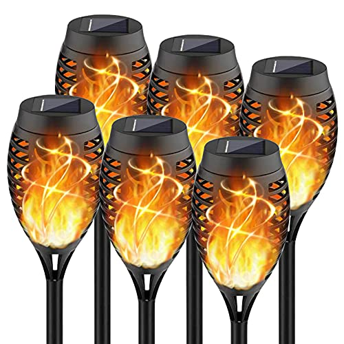 New Huing 6 Pack Mini Solar Torches, 12 LEDs Outdoor Waterproof Solar Torch Lights with Dancing Flickering Flames Auto On/Off Landscape Decoration Flame Lights for Garden Yard Patio