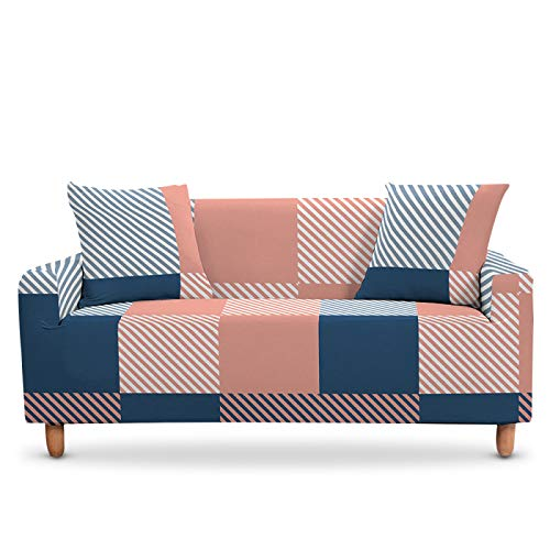 LucklyingBao Funda De Sofá Cubierta De Cubierta Deslizante Elástica Geométrica Rosa,1/2/3/4 Seater Couch Cover Stretch Stretch L En Forma De Sillón Cubierta para La Sala De Estar,2Pcs Pillow Case