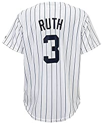 Image: Outerstuff Babe Ruth New York Yankees White Youth Cool Base Home Replica Jersey