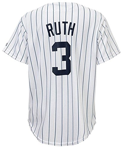 Babe Ruth New York Yankees White Youth Cool Base Home Replica Jersey (Medium 10/12)