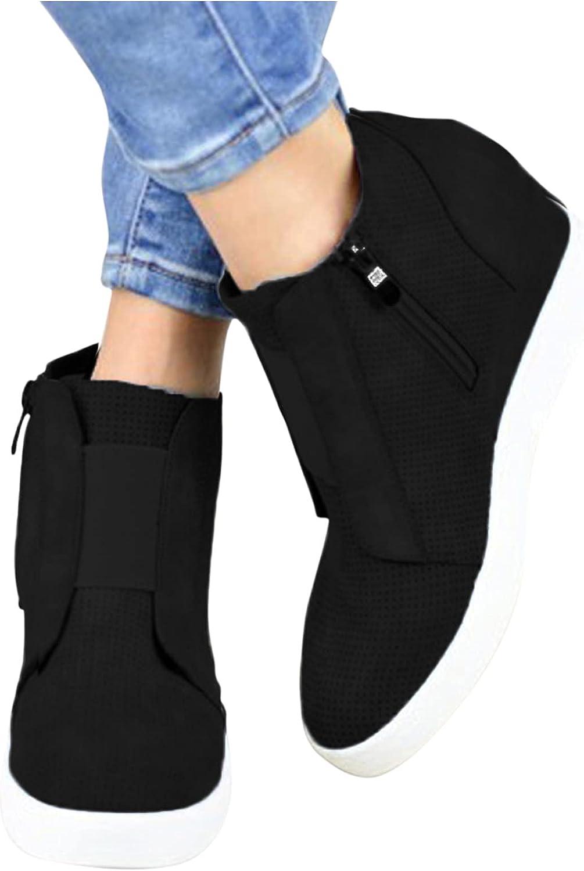 Teshalay Women's Fashion Sneakers,Zipper Women Platform Shoes Casual Walking Slip On Sneakers Lightweight Wedges Shoes