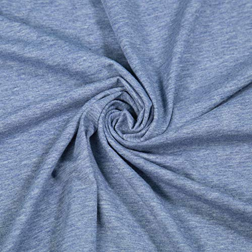 FabricLA Cotton Spandex Jersey Fabric 10 oz - 60' Inch Wide & Stretch Upto 2' Inch - Use Our Soft and Breathable 4 Way Stretch Fabric for T-Shirts, Tops, Lightweight Dresses - Lt. Denim, 1 Yard