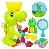 E-More Juguetes de baño para niños Divertidos Juguetes de baño de Dinosaurios Juego Educativo de Juguetes de baño para bebés con Red de Pesca Pequeños Dinosaurios Lindos Libros de baño Taza de Pila