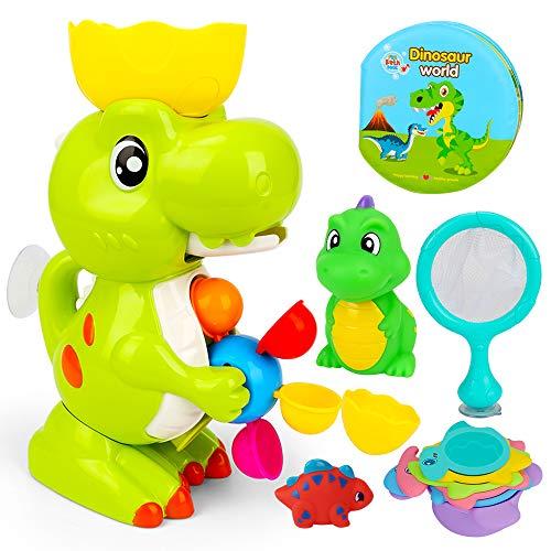 Badspeelgoed voor kinderen E-More Grappig Dinosaurus Badspeelgoed Educatief Babybadspeelgoed Set met visnet Kleine schattige dinosaurussen Badboeken Stapelbeker Waterval Sterke zuignappen Badspeelgoed