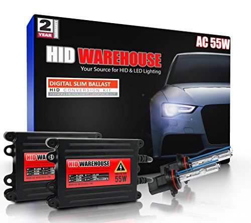 HID-Warehouse 55W AC Xenon HID Lights with Premium Slim AC Ballast - 9006 6000K - 6K Light Blue - 2 Year Warranty