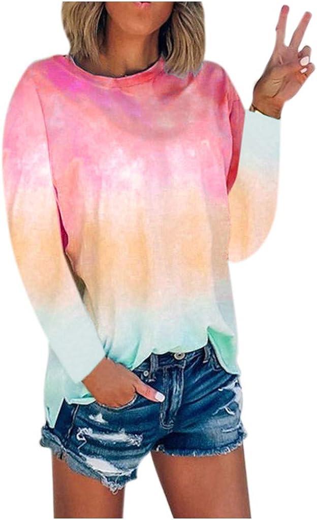 WUAI-Women Tie Dye Printed Long Sleeve Sweatshirt Oversized Long Sleeve Comfy Swing Tunic Tops Blouse Tshirt Pullover