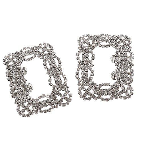 Enet - Coppia di fermagli quadrati per scarpe da sposa, con strass