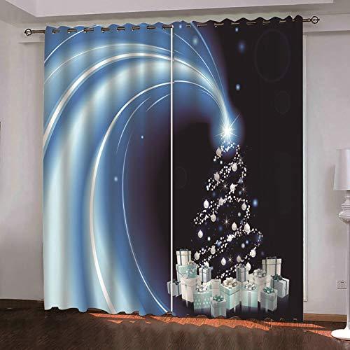 ANAZOZ 2 Cortinas Dormitorio Opaca Cortina Poliester Exterior Árbol de Navidad y Regalos Azul Oscuro Blanco Cortinas de Habitacion Tamaño 264x160CM