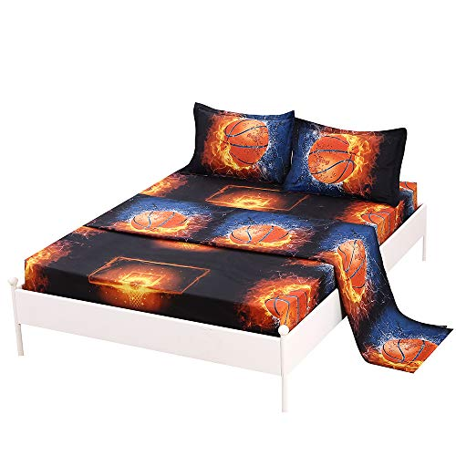 SDIII 4PC Basketball Bed Sheets Queen Size NBA Bedding Sheet Sets with Flat Fitted Sheet for Boys, Girls and Kids