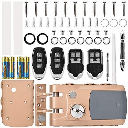 Cerradura de puerta - Seguridad para el hogar Cerradura inteligente Cerradura antirrobo sin llave con cuatro mandos a distancia