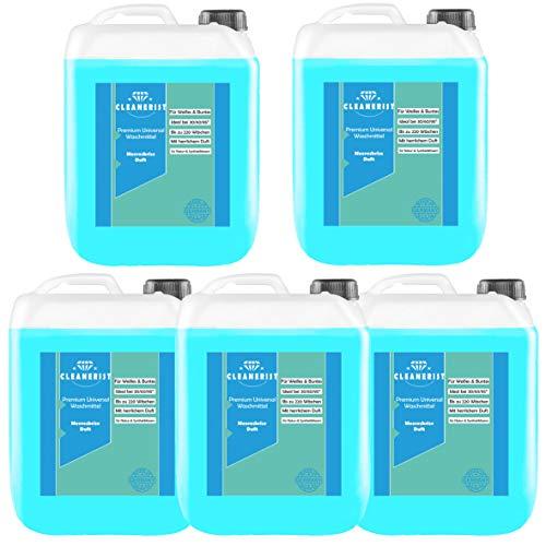 Cleanerist Flüssigwaschmittel Premium Waschmittel mit Meeresbrise-Duft | 5x5 Liter Vollwaschmittel Grosspackung | bis zu 550 Waschladungen color weiß schwarz