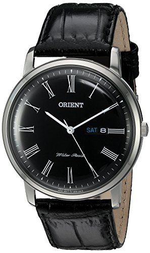 Orient Men's 'Capital Version 2' Quartz Stainless Steel and Leather Dress Watch, Color:Black (Model:...