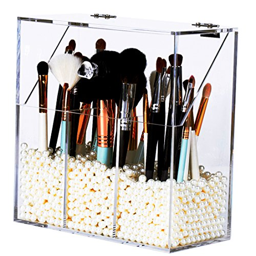 Newslly Clear Acrylic Makeup Organizer with 3 Brush Holder Compartment and Dustproof Lid, Cosmetic Brush Storage Box with White Pearls, for Bathroom Bedroom Vanity Countertop.