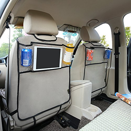 Feiteplus Environmental PVC Car Back Seat Protector Kicking Mat with Organizer Pocket for Ipad Drink (Pack of 2)