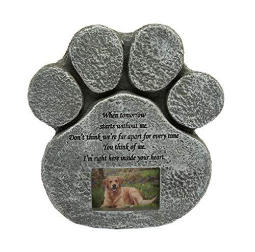 Hyindoor Lápida de Perro en Memoria de Mascota con Marco de Foto Piedra Sepulcral Conmemorativa de Forma de la Pata para Perros y Gatos