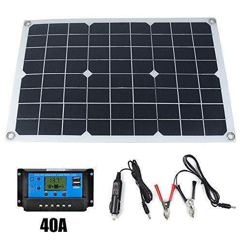 Panel Solar de silicio monocristalino de 50W 12V / 5V Cargador de batería Solar USB de Doble Salida con Controlador de Carga Solar 10/20 / 30A / 40A / 50A