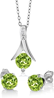 Gem Stone King 925 Sterling Silver Green Peridot Pendant and Earrings Set 3.00 Ct Round Gemstone Birthstone with 18inches Chain