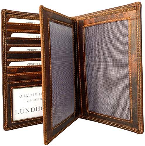 Lundholm Luxe RFID leren autopapieren map leer autopapieren portefeuille RFID portemonnee bruin cognac leer cadeau voor man en vrouw