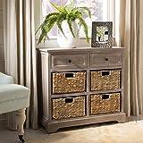 Safavieh American Homes Collection Herman Whitewash Wicker Basket Storage Unit...
