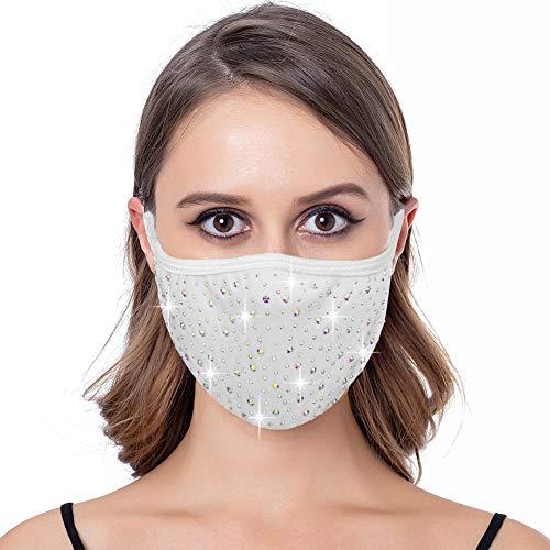 Bling Studded Mask for Women Reusable Sparkling Rhinestone Face Masks for Adult (White-Iridescent)
