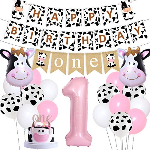 Cow 1st Birthday Decorations Cow Farm Theme First Birthday Decorations for Girls Pink Barnyard 1st Birthday Party Supplies - Cow Happy Birthday Banner One Burlap Garland Cake Topper