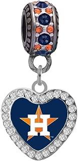 Houston Astros Crystal Heart Charm