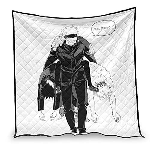 Dessionop Anime Jujutsu Kaisen Divertida impresión lanzando siesta ligera blanca 230 x 280 cm