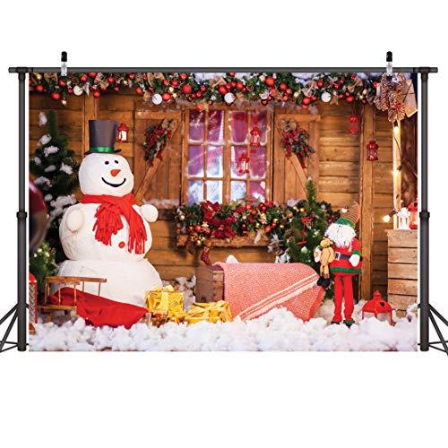 LYWYGG 7x5FT Muñeco de Nieve Fotografía Telón de Fondo Telón de Fondo de Navidad Casa de Vacaciones Regalos para el árbol de Navidad Fondo para la Fiesta de Navidad Decoración CP-98