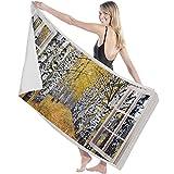 Toalla de Microfibra Secado rápido, Ligera, Absorbente, Suave y grante Yoga, Fitness, Playa, Gimnasio Vista de Ventana Creativa Brich Blanco otoñal 130X80cm