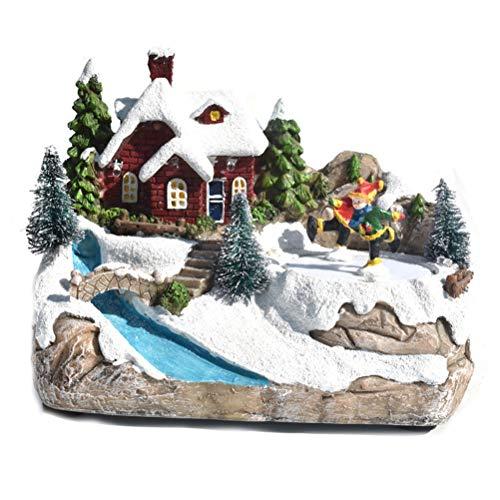 NNGT Casa de nieve Decoración de pueblo con música LED Luz de Navidad Village Fiesta Fiesta Casa Decoración del hogar