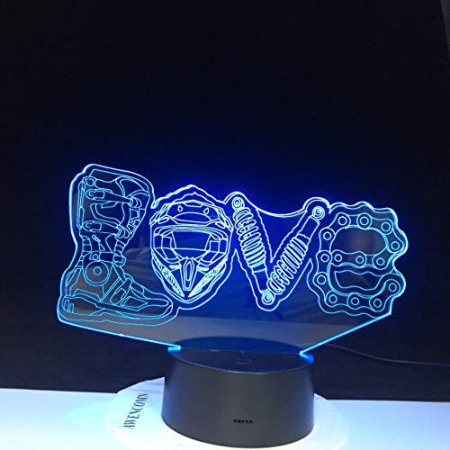 LED que cambia de color, decoración fresca, ventilador de motocicleta, LED, forma de amor mecánica, luz de noche 3D, lámpara de mesita de noche inteligente para el hogar