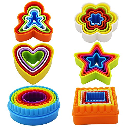 32 PCS Cookie Cutter Set, Biscuit Cutter Set, Shapes Cutter Set (Square, Round, Star, Heart, Flower, Gingersnap)