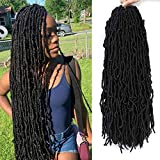 Goddess Locs Crochet Hair 24Inch Soft Faux Locs Crochet Hair Pre Looped 6Pcs/Lot 100% Premium African Roots Fiber Synthetic Hair Extension by YVELIEN(1B)