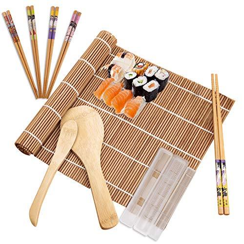 10 Stück Sushi Set Bambus Sushi Matte Sushi Selbst Machen Set mit Bambus Sushi Matte mit 2 Rollmatten,5 Paar Essstäbchen,Reislöffel,Reisspatel und Sushi Form Sushi Maker Set für Anfänger und Liebhaber