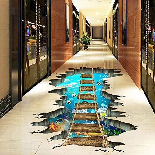 Sizet 3D Stickers Wall Decor Optical Illusion Waterproof Floor Wall Stickers Murals 3D Vinyl product image