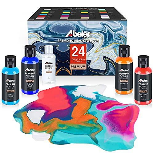 Pouring - Pintura acrílica, 60 ml, 24 colores diferentes y aceite de silicona (30 ml), premezclado, alta flujo, pintura para pintar sobre lienzo, vidrio, papel, madera, azulejos, piedras y más