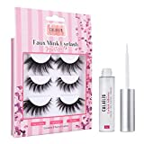 CALAILIS False Eyelash, Eye Makeup Lash 3D Faux Mink Fake Eyelash Long Natural Eyelashes 3 Pairs with 5g False Eyelash Glue (CS18)