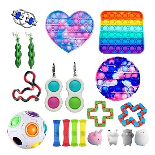 DENGZI Fidget-Spielzeug-Set, sensorisches Spielzeug-Set, Stressabbau-Spielzeug und Angstspielzeug Das 23-teilige Spielzeug ist ein sensorisches Dekompressionsspielzeug, Erwachsene geeignet ist