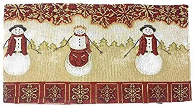 Tache Mr. & Mrs. Snowman Couple Vintage Christmas Eve Holiday Snowflakes Traditional Red White Decorative Woven Tapestry Table Runners, 13x72